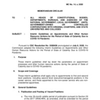 CSC MC 14 s. 2020: Interim Guidelines on Appointments and Other Human Resource Actions for the Period of State of Calamity Due to COVID-19 Pandemic