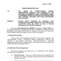 CSC MC 10 s. 2020: Revised Interim Guidelines for Alternative Work Arrangements and Support Mechanisms for Workers in the Government During the Period of State of National Emergency Due to COVID-19 Pandemic