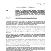 CSC MC 12 s. 2020: 120th Anniversary of the Philippine Civil Service