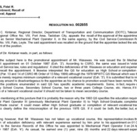 CSC Resolution 002855, Wasawas, Fidel R., Re: Appointment; Recall of Approval; Appeal