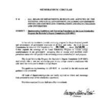 CSC MC 27, s. 1996: Implementing Guidelines and Operating Procedures on the Local Scholarship Program for Bachelor's Degree Completion (LSP-BDC)