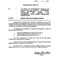 CSC MC 35, s. 1998: Inclusion of Blood Type in Employee's Records