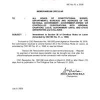 CSC MC 15 s. 2020: Amendment to Section 38 of Omnibus Rules on Leave (Amended by CSC MC No. 41, s. 1998)