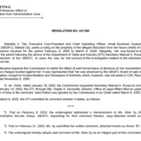 CSC Resolution 021396, Tan, Marietta U., Re: Leave of Absence; Effect of Exoneration from Administrative Case