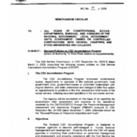 CSC MC 11, s. 2005: Revised Policies on CSC Accreditation Program