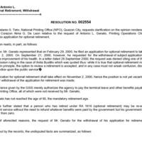 CSC Resolution 002554, Genato, Antonio L., Re: Optional Retirement; Withdrawal