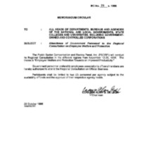CSC MC 23, s. 1996: Attendance of Government Personnel to the Regional Consultation on Employee Welfare and Protections